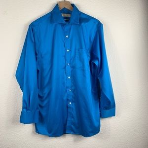Michael Kors Men's Blue Long Sleeve Dress Shirt
